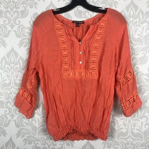 Cable and Gauge Coral Pink Cotton Top Size M